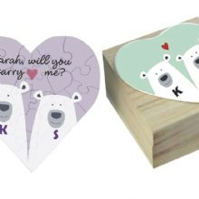 "Bears In Love ""Will you Marry me?"" Jigsaw in a Wooden Box - Personalised Engagement Gift - Ideal way of Proposing"